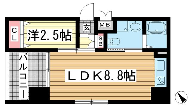 物件番号: 1025875516 ザ・コッチ神戸  神戸市兵庫区西橘通1丁目 1LDK マンション 間取り図