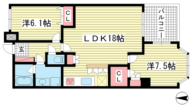 物件番号: 1025875520 ロイヤル神戸北野通り  神戸市中央区北野町1丁目 2LDK マンション 間取り図