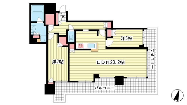 物件番号: 1025875526 シティタワー神戸三宮  神戸市中央区旭通4丁目 2LDK マンション 間取り図