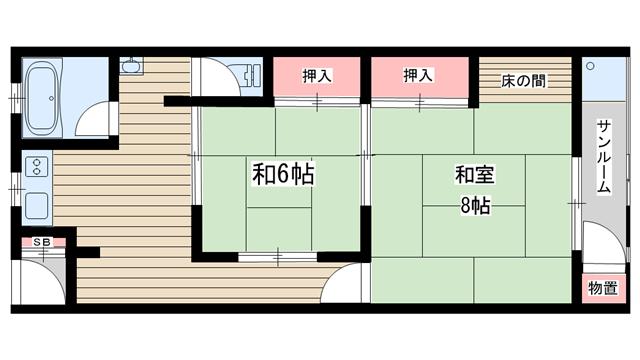 物件番号: 1025875535 新神戸ハイツ  神戸市中央区熊内町5丁目 2DK マンション 間取り図
