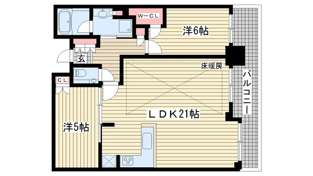 物件番号: 1025875550 シティタワー神戸三宮  神戸市中央区旭通4丁目 2LDK マンション 間取り図