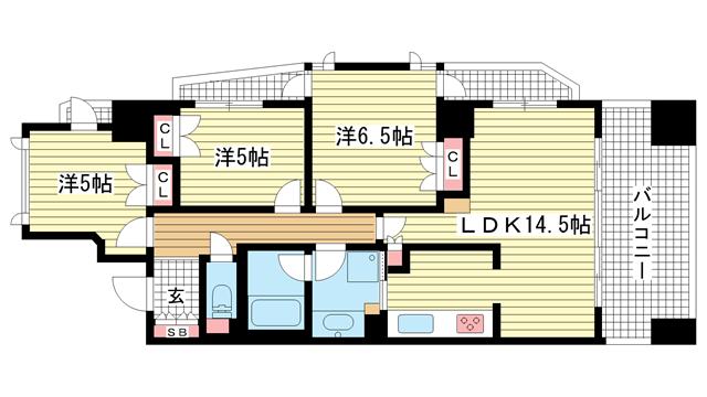 物件番号: 1025875564 アーバネックス三宮磯辺通  神戸市中央区磯辺通1丁目 3LDK マンション 間取り図