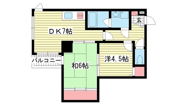 物件番号: 1025875603 ライオンズマンション中山手  神戸市中央区中山手通4丁目 2DK マンション 間取り図