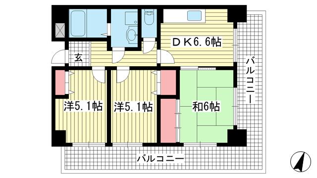 物件番号: 1025875636 オックスフォードコート  神戸市灘区八幡町4丁目 3DK マンション 間取り図