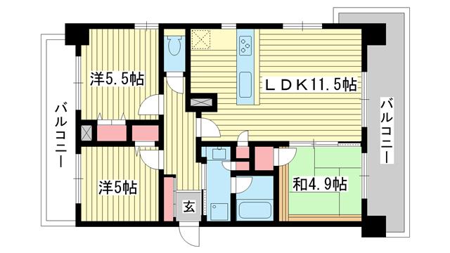 物件番号: 1025875647 ソナーレ新神戸  神戸市中央区二宮町2丁目 3LDK マンション 間取り図