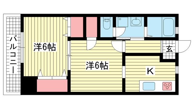 物件番号: 1025875649 ルミエールダイドー  神戸市中央区北長狭通7丁目 2K マンション 間取り図