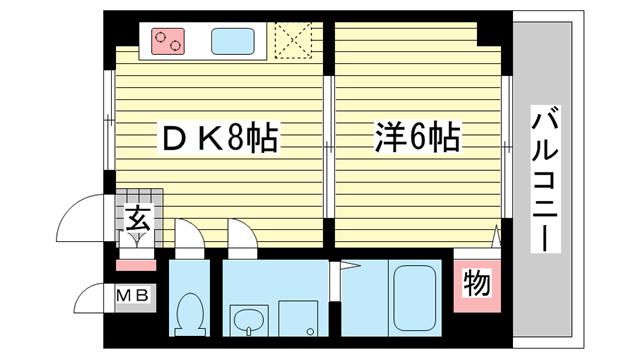 物件番号: 1025875651 ユニバーサルビル  神戸市兵庫区西上橘通2丁目 1DK マンション 間取り図