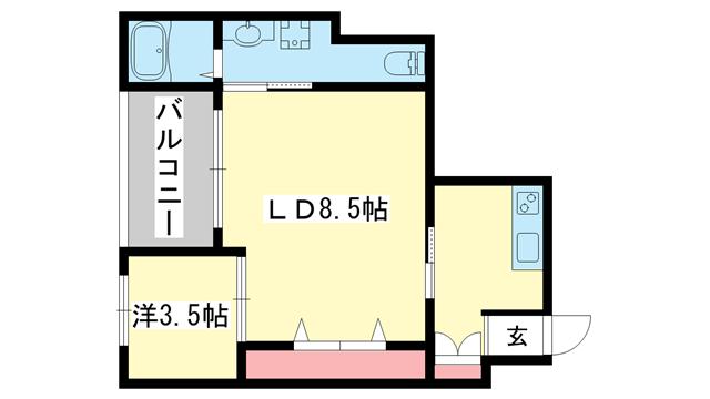 物件番号: 1025876650 ハイム石塚  神戸市中央区大日通2丁目 1DK マンション 間取り図