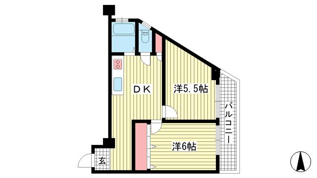 物件番号: 1025876651 三葉ハイツ  神戸市中央区山本通4丁目 2DK マンション 間取り図