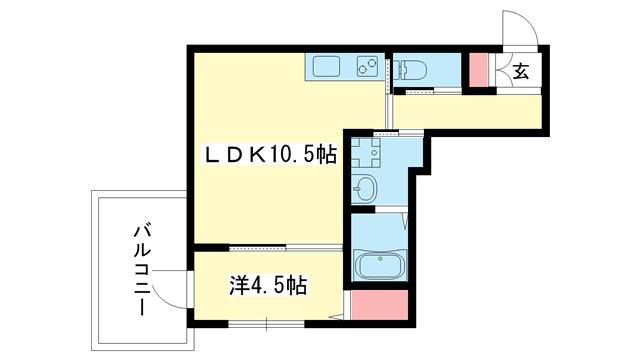 物件番号: 1025876653 ハイム石塚  神戸市中央区大日通2丁目 2LDK マンション 間取り図