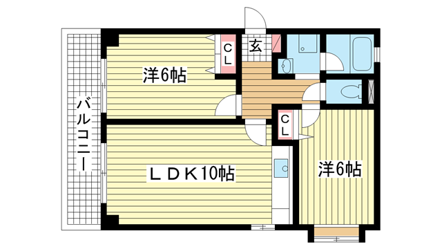 物件番号: 1025881103 サニーコート橘  神戸市中央区橘通1丁目 2LDK マンション 間取り図