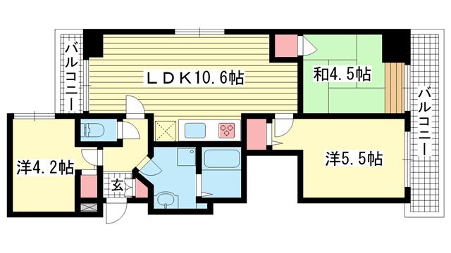 物件番号: 1025881104 クレメント神戸大倉山  神戸市中央区橘通4丁目 3LDK マンション 間取り図