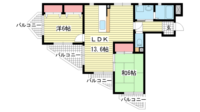 物件番号: 1025881109 アペリオⅡ  神戸市兵庫区下祇園町 2LDK マンション 間取り図