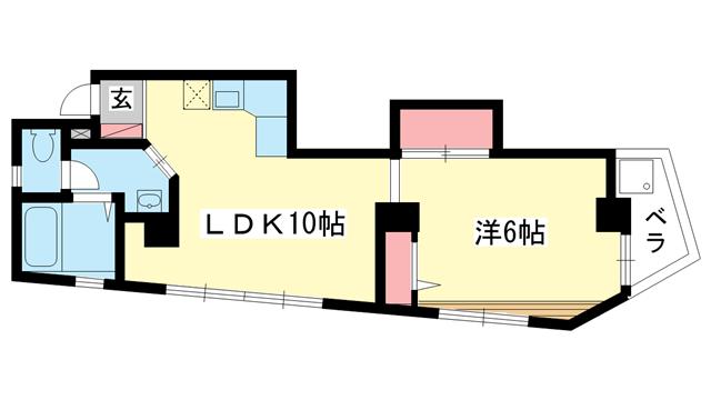 物件番号: 1025881118 ド・エール王子  神戸市灘区王子町1丁目 1LDK マンション 間取り図