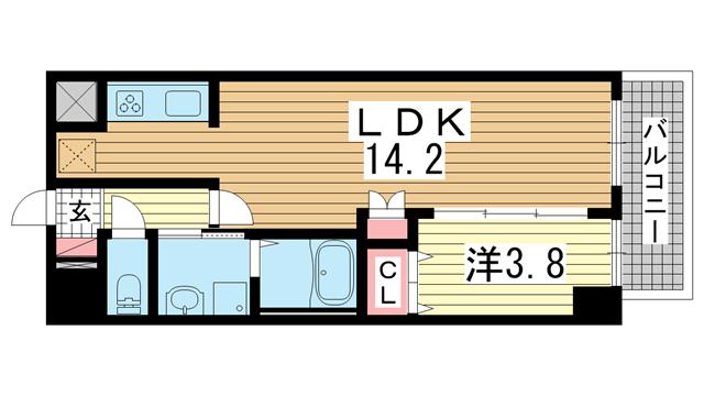 物件番号: 1025881123 KMS新生水木通  神戸市兵庫区水木通4丁目 1LDK マンション 間取り図