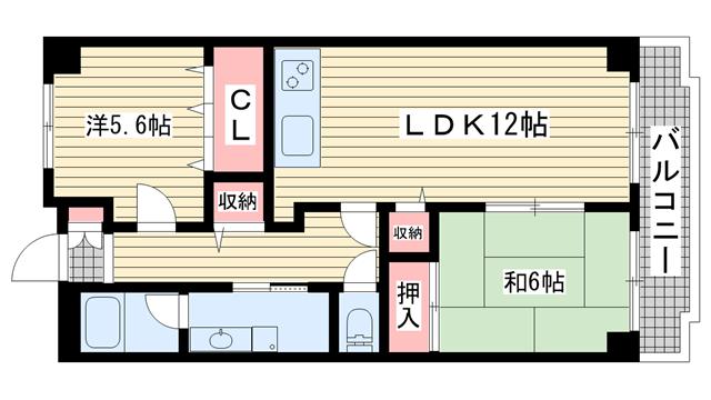 物件番号: 1025881124 サニーヒル北野  神戸市中央区山本通3丁目 2LDK マンション 間取り図