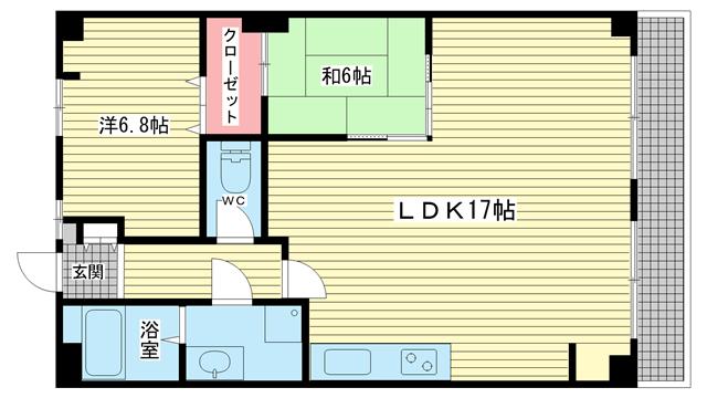 物件番号: 1025881129 大和マンション  神戸市中央区下山手通4丁目 2LDK マンション 間取り図