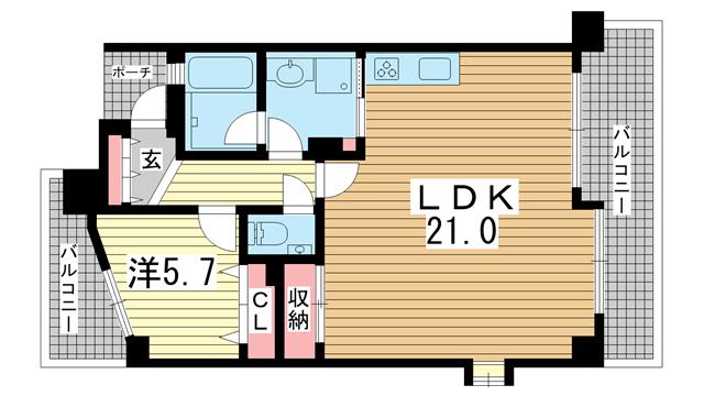 物件番号: 1025881134 エスリード三宮フラワーロード  神戸市中央区磯辺通4丁目 1LDK マンション 間取り図