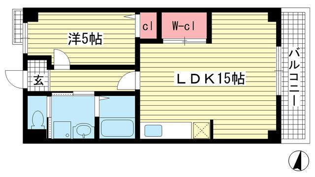 物件番号: 1025881137 プラージュ御崎  神戸市兵庫区御崎本町2丁目 1LDK マンション 間取り図