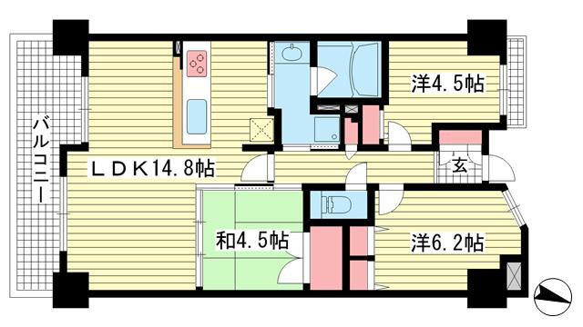 物件番号: 1025881140 ルネ神戸磯上通  神戸市中央区磯上通3丁目 3LDK マンション 間取り図