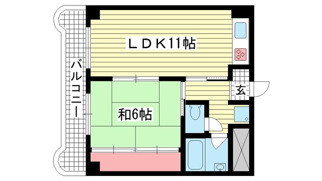 物件番号: 1025881149 レバンガ三宮アパートメント(旧:三宮ハイツ)  神戸市中央区御幸通2丁目 1LDK マンション 間取り図