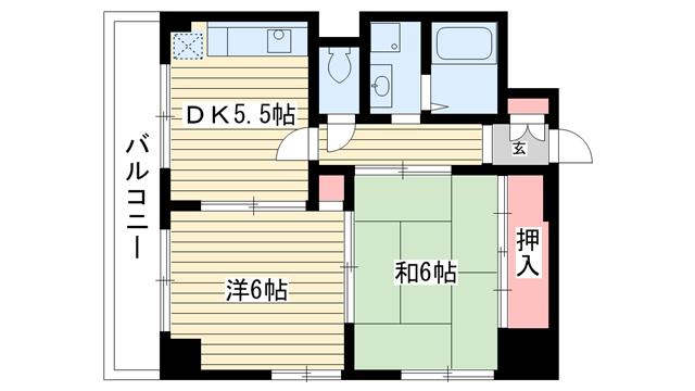 物件番号: 1025881156 シャトーソフィア  神戸市中央区相生町4丁目 2DK マンション 間取り図