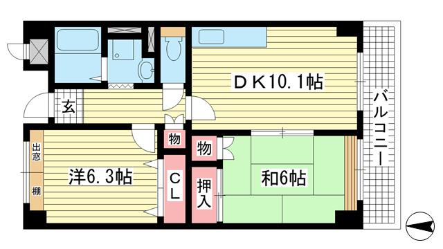 物件番号: 1025881171 オーシャンビュー神戸  神戸市兵庫区西上橘通1丁目 2DK マンション 間取り図