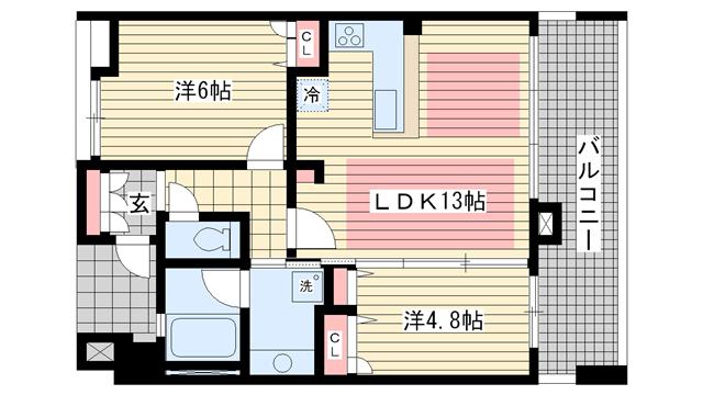 物件番号: 1025881185 KAISEI新神戸第2EAST  神戸市中央区布引町2丁目 2LDK マンション 間取り図