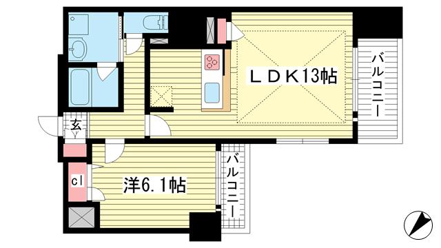 物件番号: 1025881192 プレサンスKOBEグレンツ  神戸市兵庫区新開地3丁目 1LDK マンション 間取り図