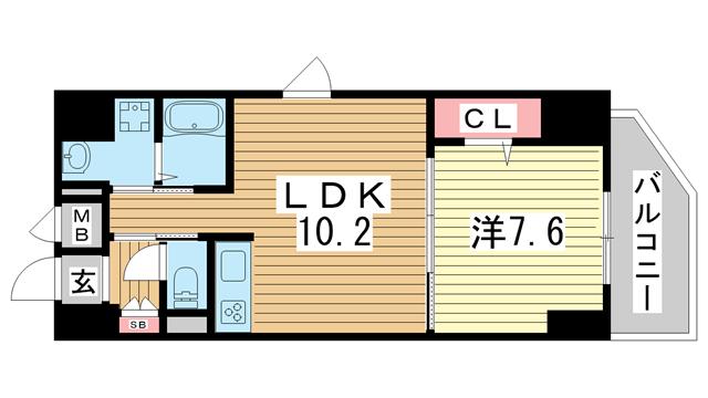 物件番号: 1025881198 パルス元町  神戸市中央区花隈町 1LDK マンション 間取り図