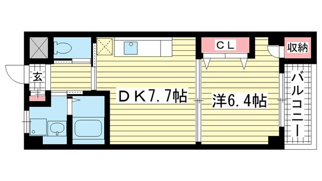 物件番号: 1025881200 夢野アパートメント  神戸市兵庫区鵯越町 1DK マンション 間取り図