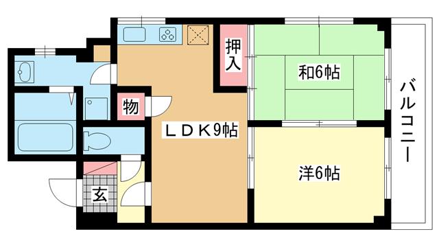 物件番号: 1025881204 MFハイツ春日野  神戸市中央区日暮通1丁目 2DK マンション 間取り図