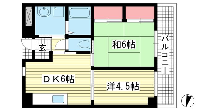 物件番号: 1025881207 グランドハイツ岸本  神戸市中央区日暮通1丁目 2DK マンション 間取り図