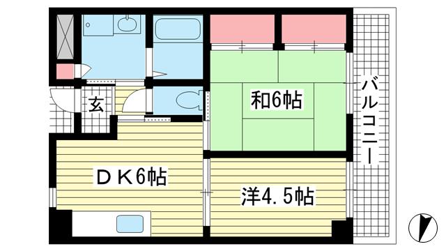 物件番号: 1025881208 グランドハイツ岸本  神戸市中央区日暮通1丁目 2DK マンション 間取り図