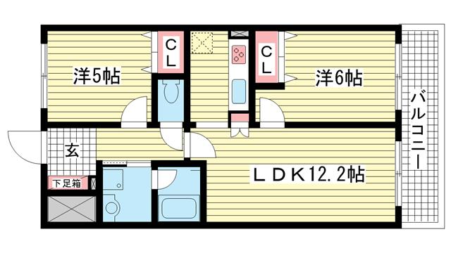 物件番号: 1025881212 アーバネックス元町通  神戸市中央区元町通6丁目 2LDK マンション 間取り図