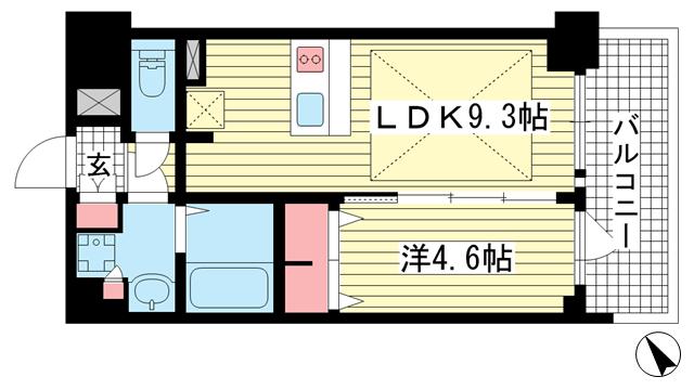 物件番号: 1025881221 プレサンス THE 神戸  神戸市兵庫区西出町 1LDK マンション 間取り図