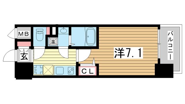 物件番号: 1025881224 ファーストフィオーレ三宮EAST  神戸市中央区東雲通5丁目 1K マンション 間取り図
