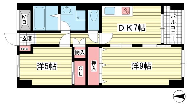 物件番号: 1025881229 中山手コーポ  神戸市中央区中山手通2丁目 2LDK マンション 間取り図