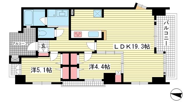 物件番号: 1025881252 ワコーレ中山手I.C.  神戸市中央区中山手通4丁目 2LDK マンション 間取り図