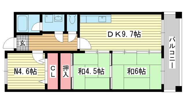 物件番号: 1025881286 摩耶コート壱番館  神戸市灘区都通2丁目 2SDK マンション 間取り図