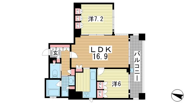 物件番号: 1025881298 リーガル神戸中山手通り  神戸市中央区中山手通2丁目 2LDK マンション 間取り図