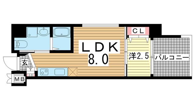 物件番号: 1025881299 ザ・コッチ神戸  神戸市兵庫区西橘通1丁目 1LDK マンション 間取り図