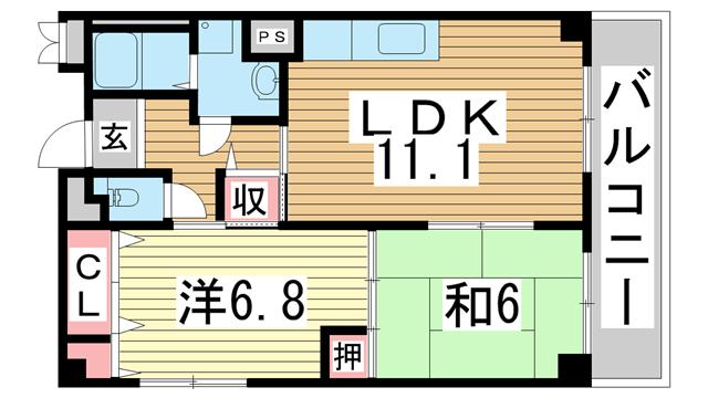 物件番号: 1025881305 メゾン・ドュウ  神戸市中央区中山手通2丁目 2LDK マンション 間取り図