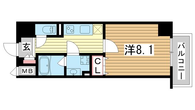 物件番号: 1025881317  神戸市中央区元町通4丁目 1K マンション 間取り図