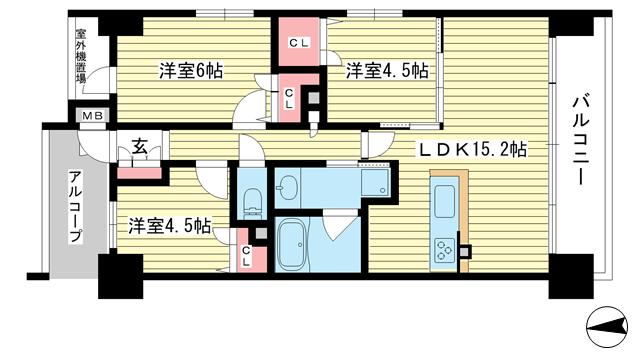 物件番号: 1025881353 ヌーヴェルワイズ灘駅前  神戸市中央区割塚通1丁目 3LDK マンション 間取り図