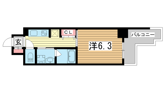 物件番号: 1025881390 パンプキンC  神戸市兵庫区新開地4丁目 1K マンション 間取り図