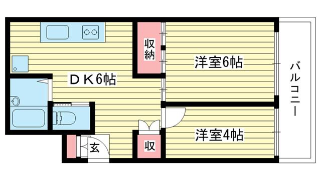 物件番号: 1025881395 花隈ダイヤハイツ  神戸市中央区花隈町 2DK マンション 間取り図