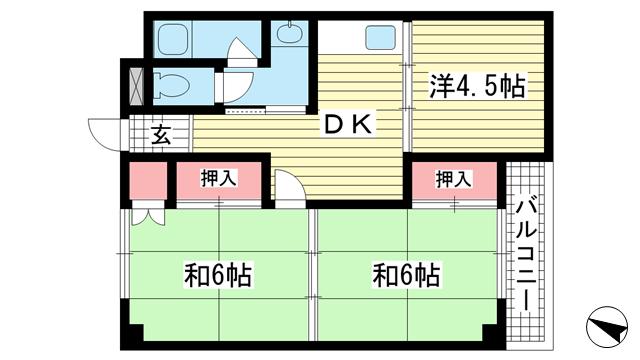 物件番号: 1025881405 上春日野ハイツ  神戸市中央区神仙寺通4丁目 3DK マンション 間取り図
