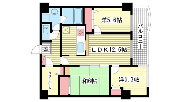 物件番号: 1025881419 コムーネ北野EAST  神戸市中央区加納町2丁目 3SLDK マンション 間取り図