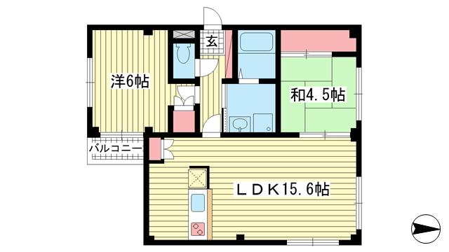 物件番号: 1025881427 グレンコート御影  神戸市東灘区御影中町2丁目 2LDK マンション 間取り図